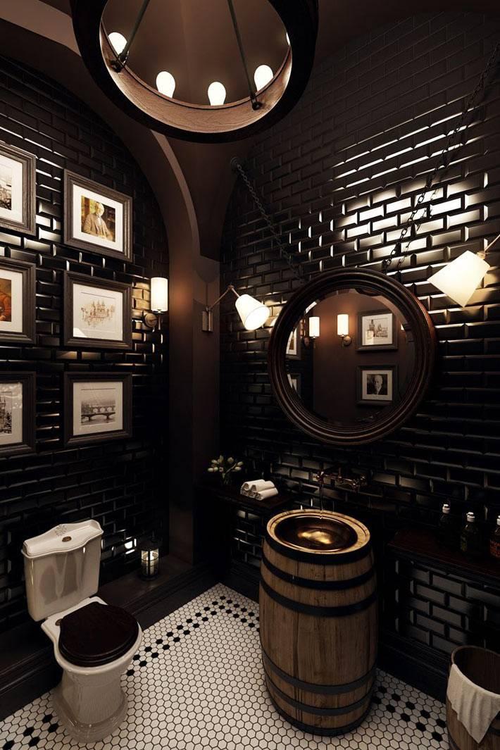стильный туалет в доме - бочка и черные стены