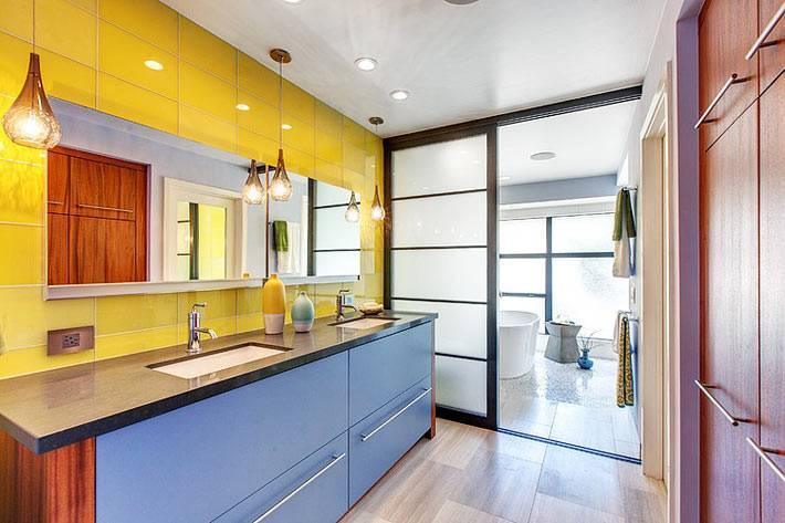 нескучный дизайн - яркие краски на стенах и мебели фото