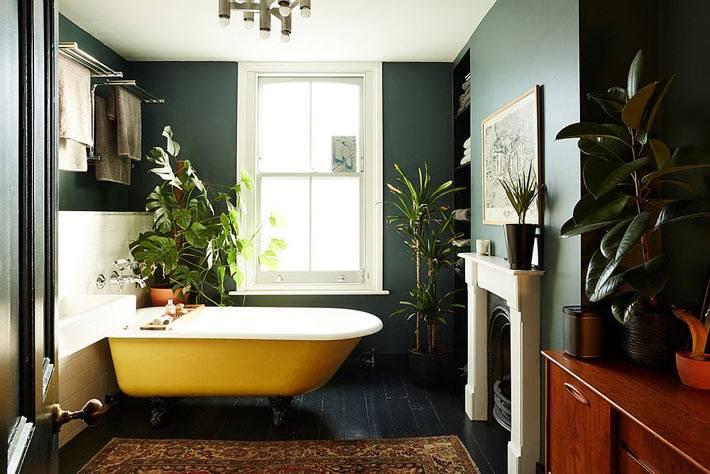 ртемные стены комнаты и желтыая чаша ванны на ножках