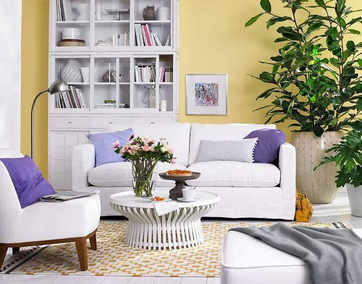 комната с желтыми стенами, белой мебелью и зеленым растением в кадке