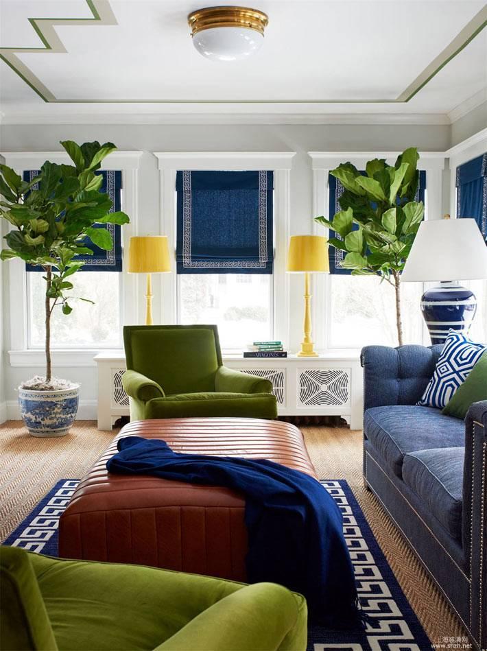 симметрично раставленные комнатные деревья в интерьере гостиной