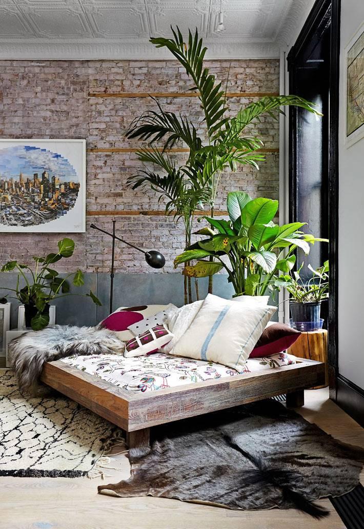 папоротники и пальмы в интерьере с кирпичными стенами