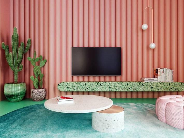 стены лососевого цвета в комнате с телевизором и кактусами