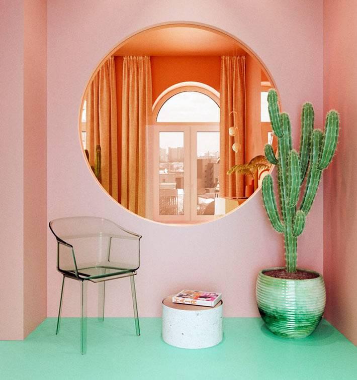 большое круглое зеркало и акриловый стул в прихожей квартиры