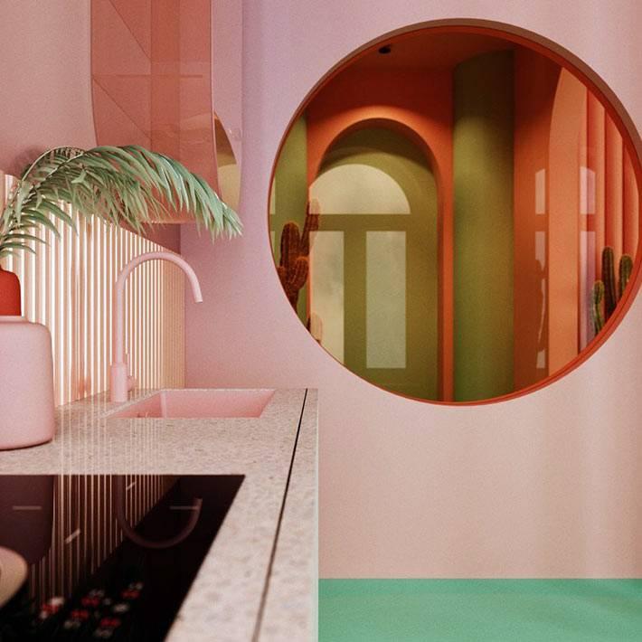 круглое окно между кухней и прихожей в квартире фото