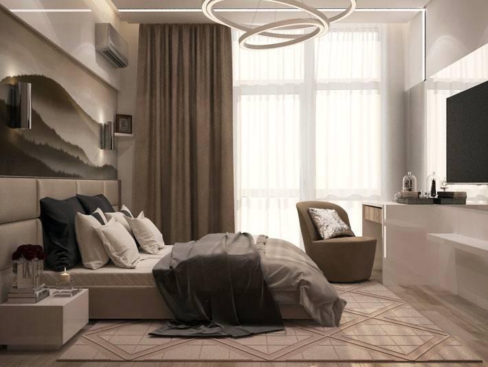коричневая и бежевая гамма для оформления спальни