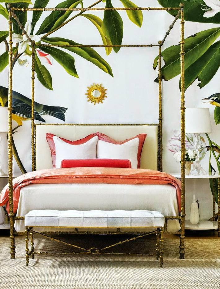 полог для кровати из латуни в виде бамбуковых стеблей
