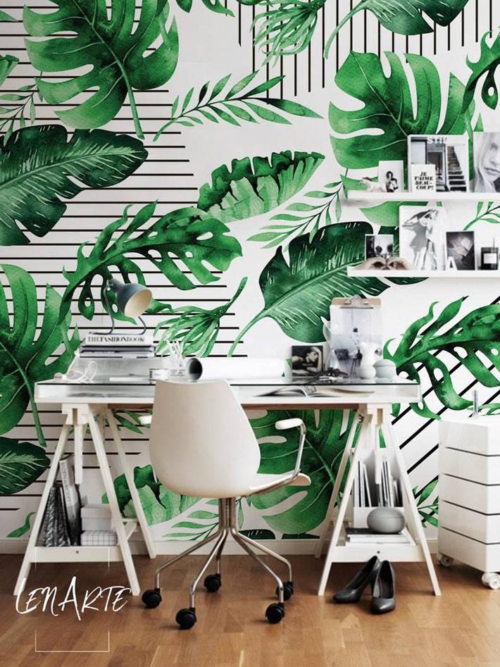 крупные зеленые листья - рисунок на обоях фото