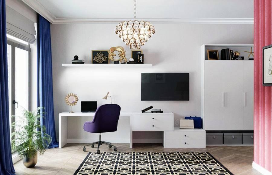 Динамичный дизайн гостиной для молодой девушки (студия Александра Акименкова)