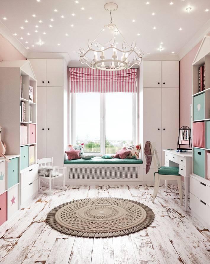 состаренный пол из белого ламината в детской комнате