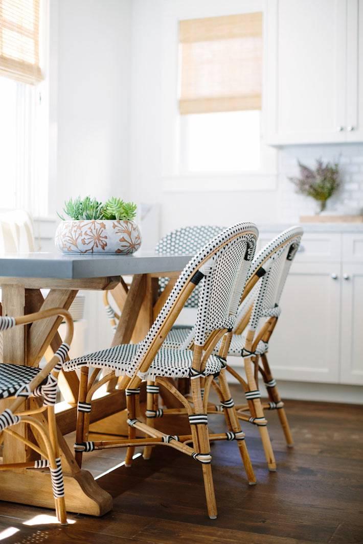красивая плетёная мебель для оформления домашней кухни