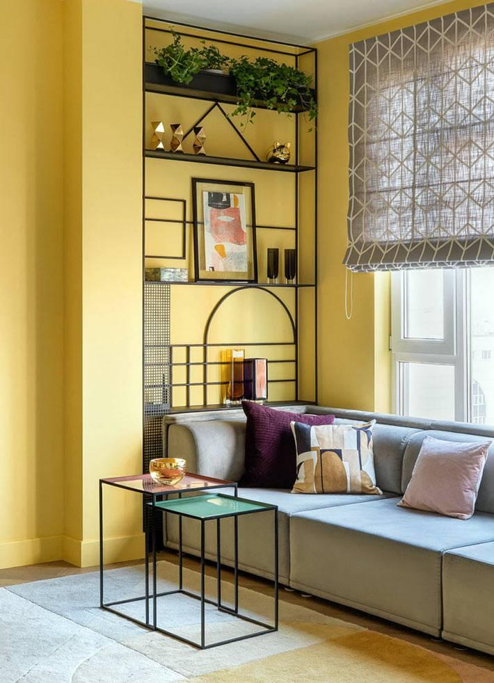 желтый цвет стен в квартире с современным дизайном