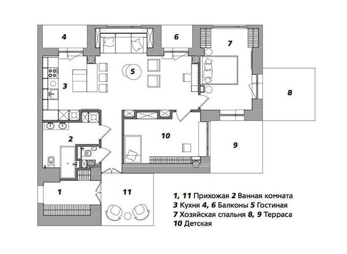 точная схема расположения комнат в квартире