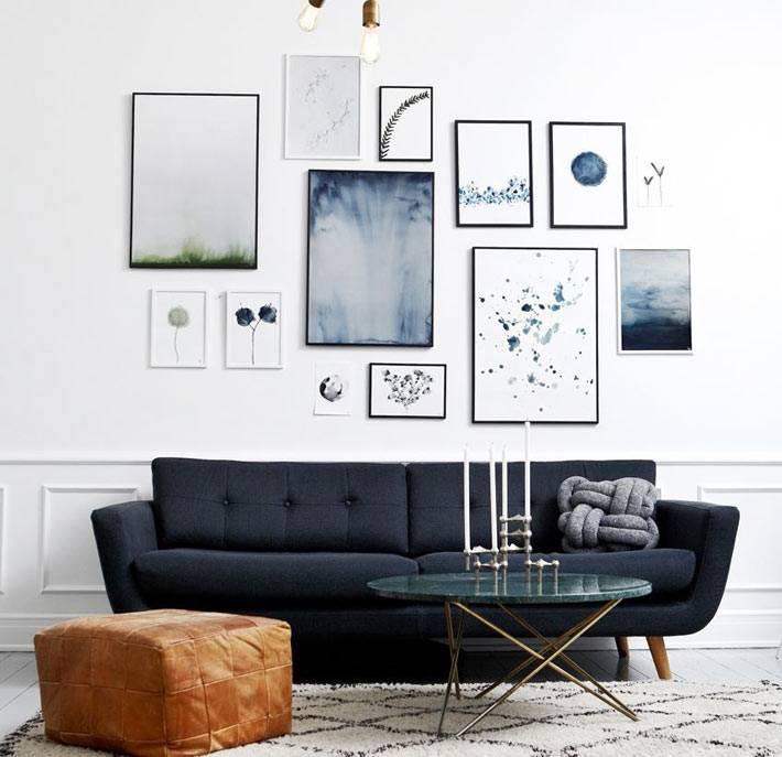 как красиво повесить картины над диваном в гостиной фото