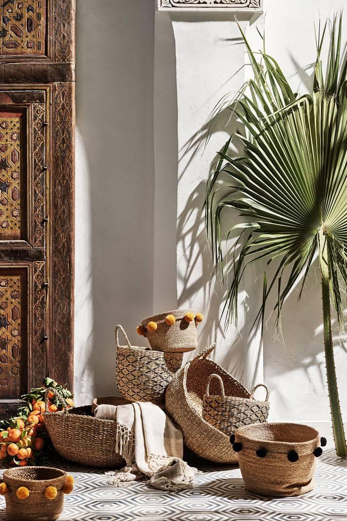 плетёные корзины и кошолки из ротанга и лозы для дома