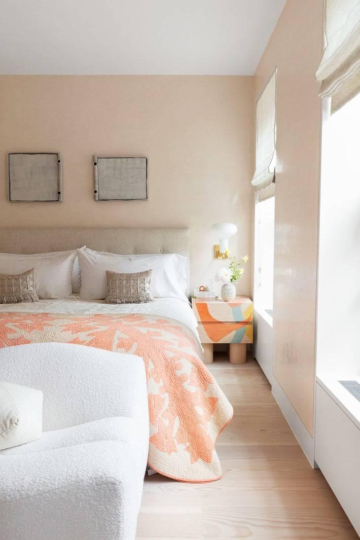 пастельные розовые тона для оформления спальни в доме
