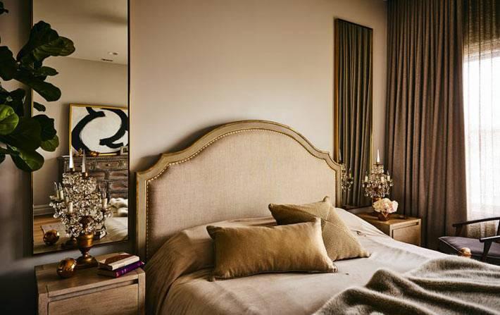 главная спальня в коричневых и бежевых оттенках