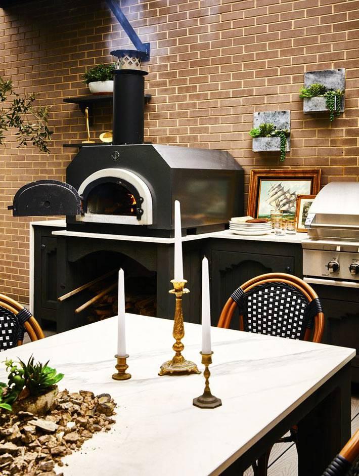 летняя кухня на террасе с современной печью и мангалом