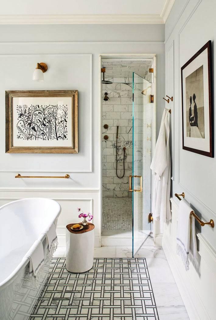 ванная и душевая в одном стильном помещении