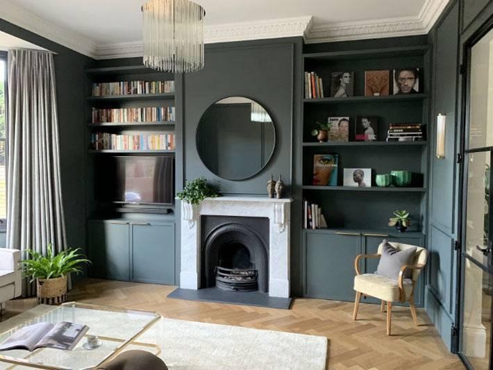 классический интерьер гостиной с темными стенами и камином