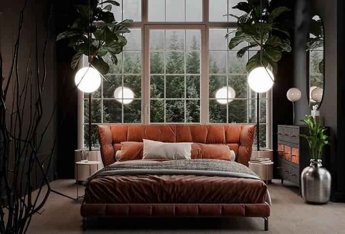 кровать с оранжевым бархатным изголовьем фото