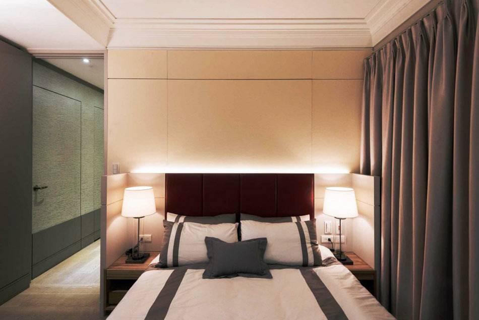 сдержанный дизайн спальни в восточном стиле фото