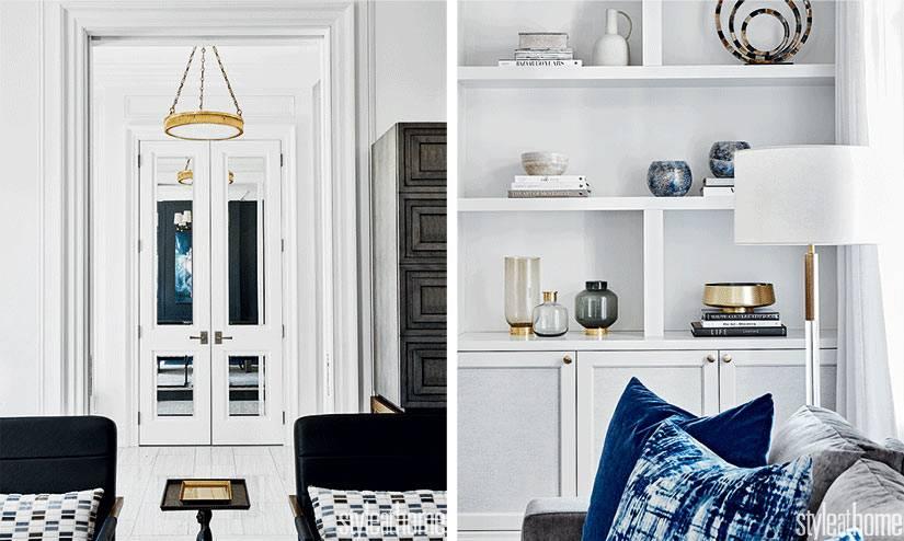 встроенные шкафы в гостиной по бокам от камина фото
