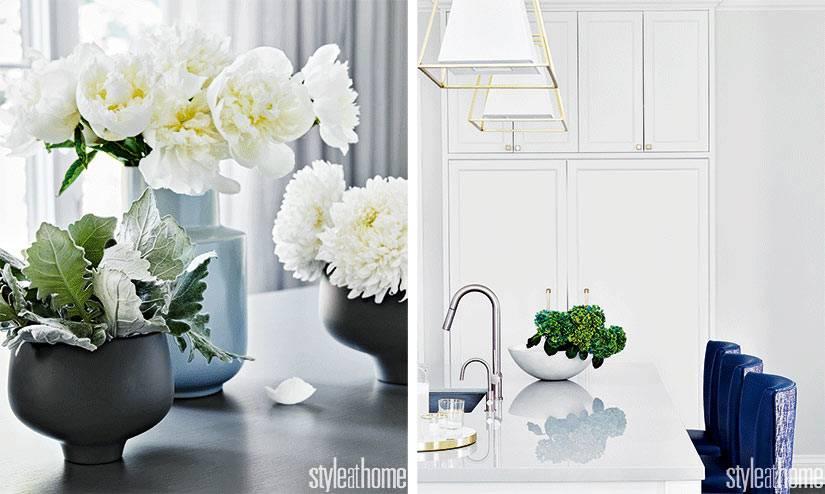 белые аксессуары для белой кухни, черные матовые вазы фото