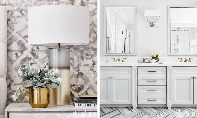 белоснежная ванная комната с двойным умывальником и парой зеркал
