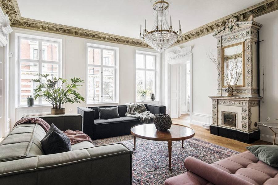 исторические штрихи в красивой скандинавской квартире