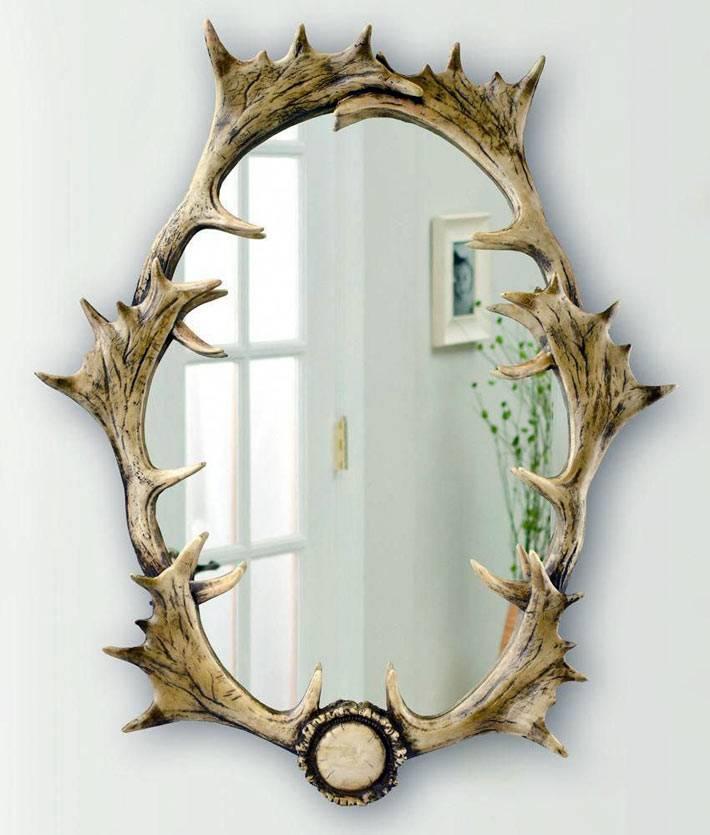 креативная идея - рама для зеркала из рогов оленя