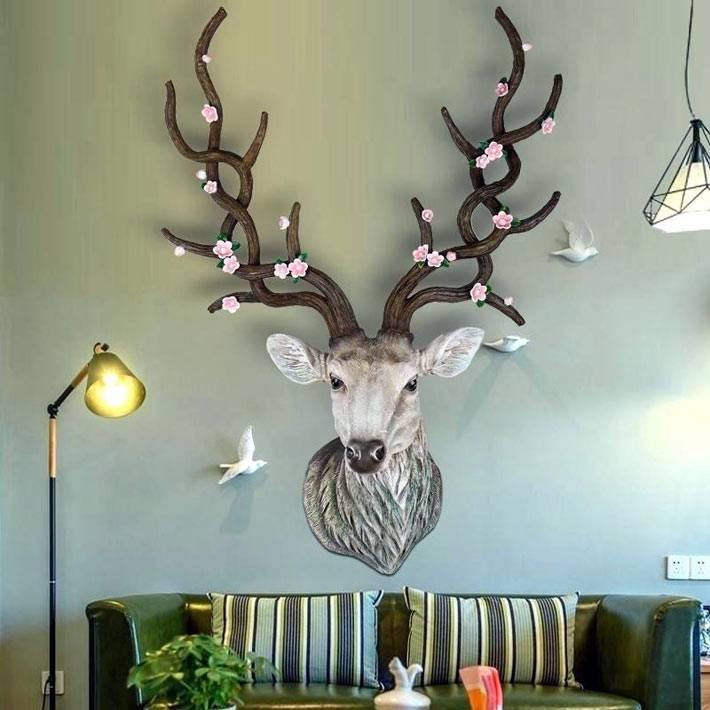 олень с цветами на рогах - декор для гостиной комнаты