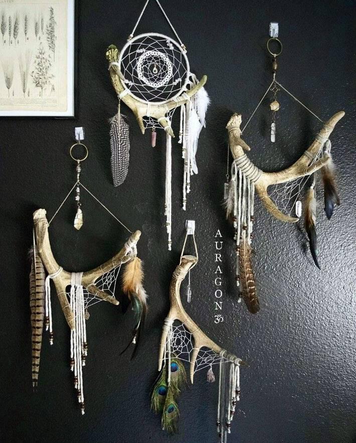 украшения для дома из рогов оленя в индейском стиле