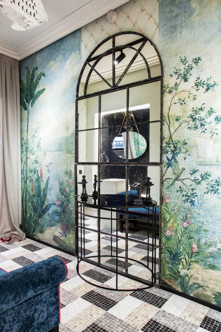 декоративная арка из зеркал и невесомая консоль фото