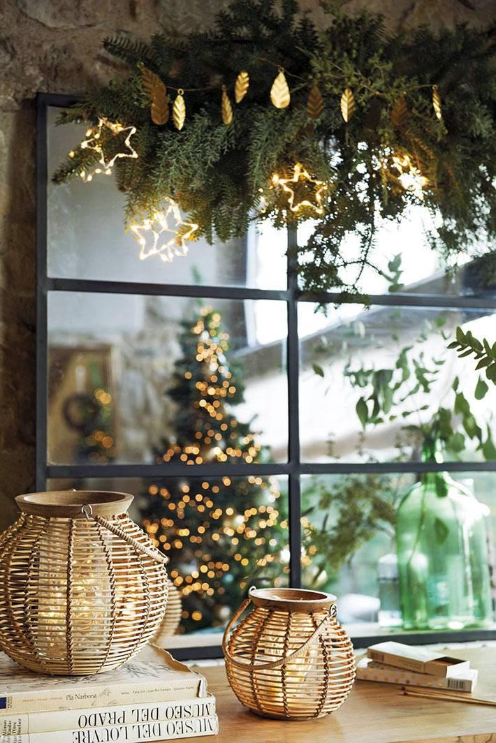плетеные из лозы фонарики-подсвечники для украшения дома