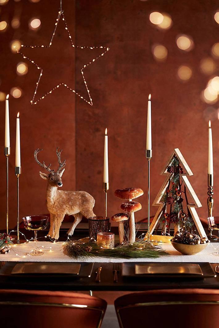 фигурка оленя и деревянная ёлка для украшения стола