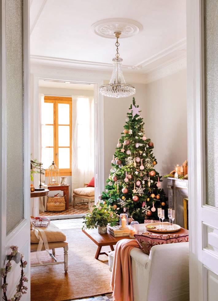 красивый новогодний интерьере дома с ёлкой фото