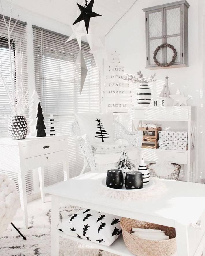 черный и белый новогодний декор в вашем доме