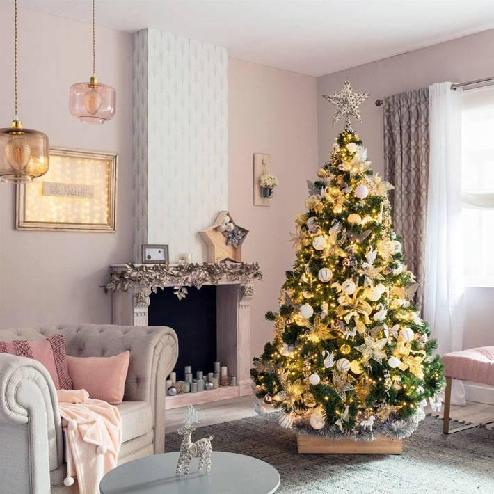 романтическое рождественское украшение ёлки и дома