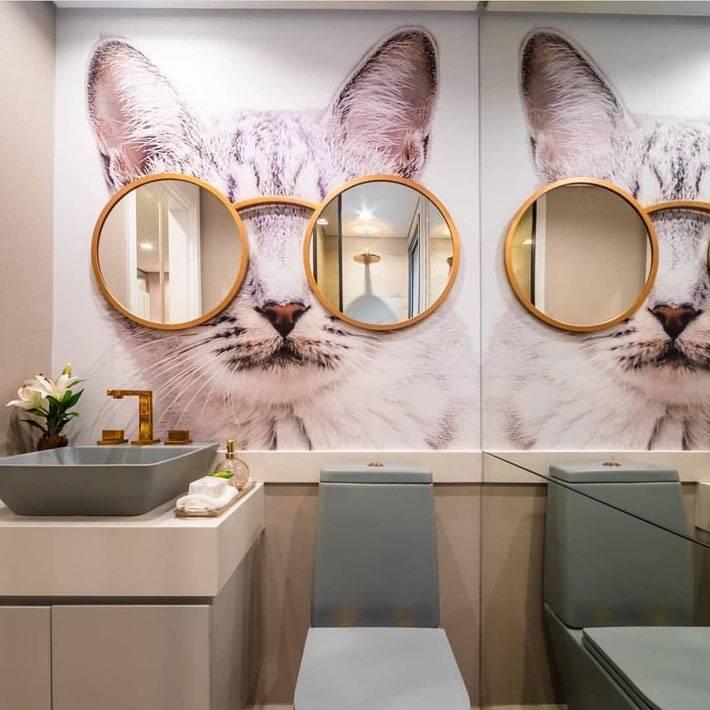 два круглых зеркала в золотистой раме на изображении кота