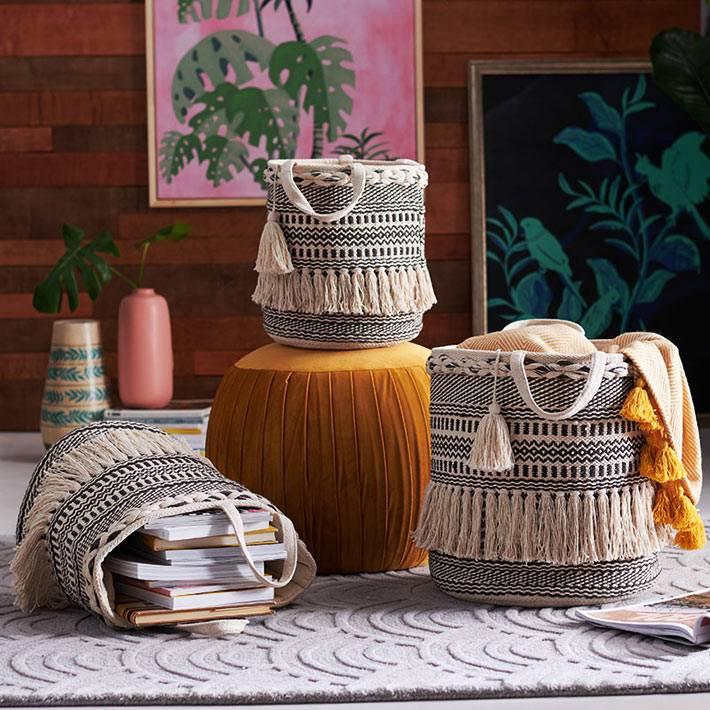 текстильные корзины для хранения вещей в доме фото