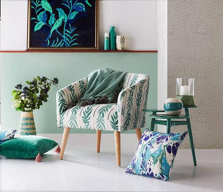мятный цвет в интерьере и декоративных элементах