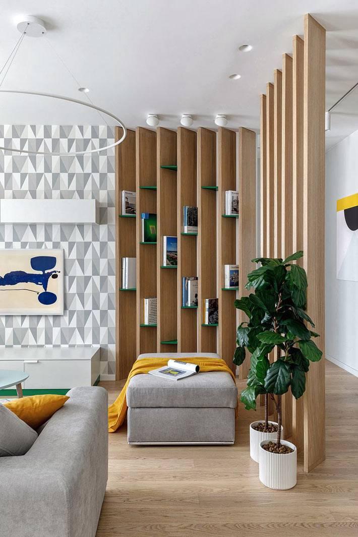 перегородка между комнатами их деревянных ламелей фото