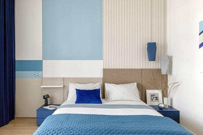 цветные геометрические принты в дизайне спальни фото