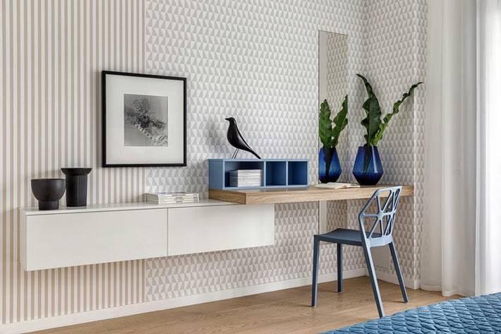 подвесной стол с деревянной столешницей - рабочее место в спальне