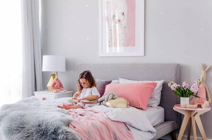 серый цвет для оформления детской спальни для девочки