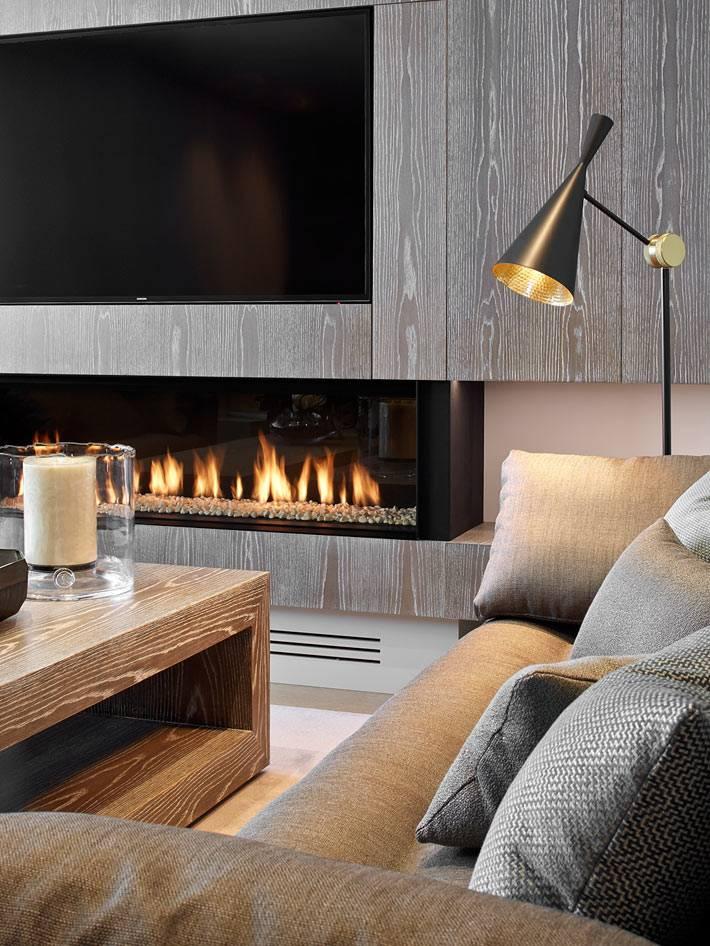 современный камин под телевизором в гостиной комнате