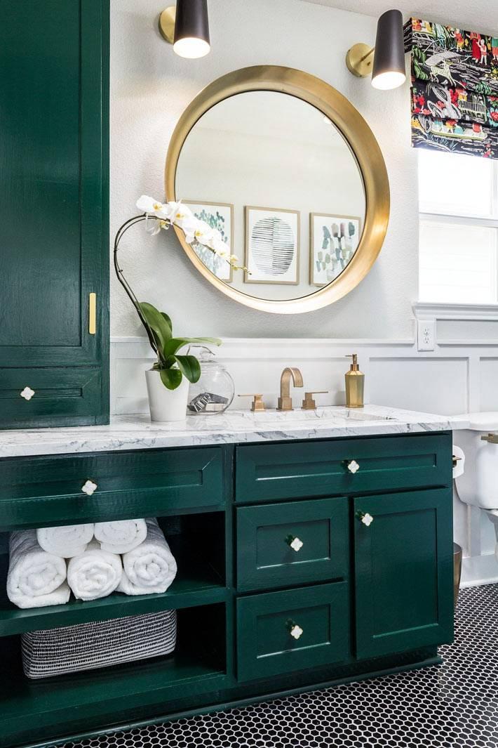 мебель для ванной тёмно-зелёного цвета фото