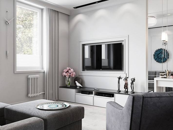 плазменный телевизор в белой раме на стене фото