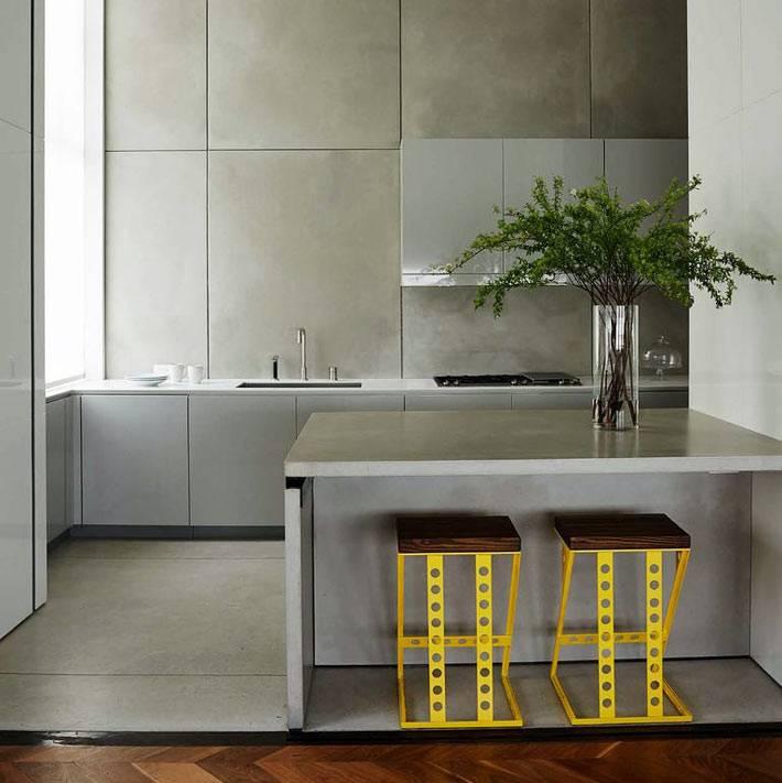 минималистичная кухня в стиле хай-тек в сером цвете